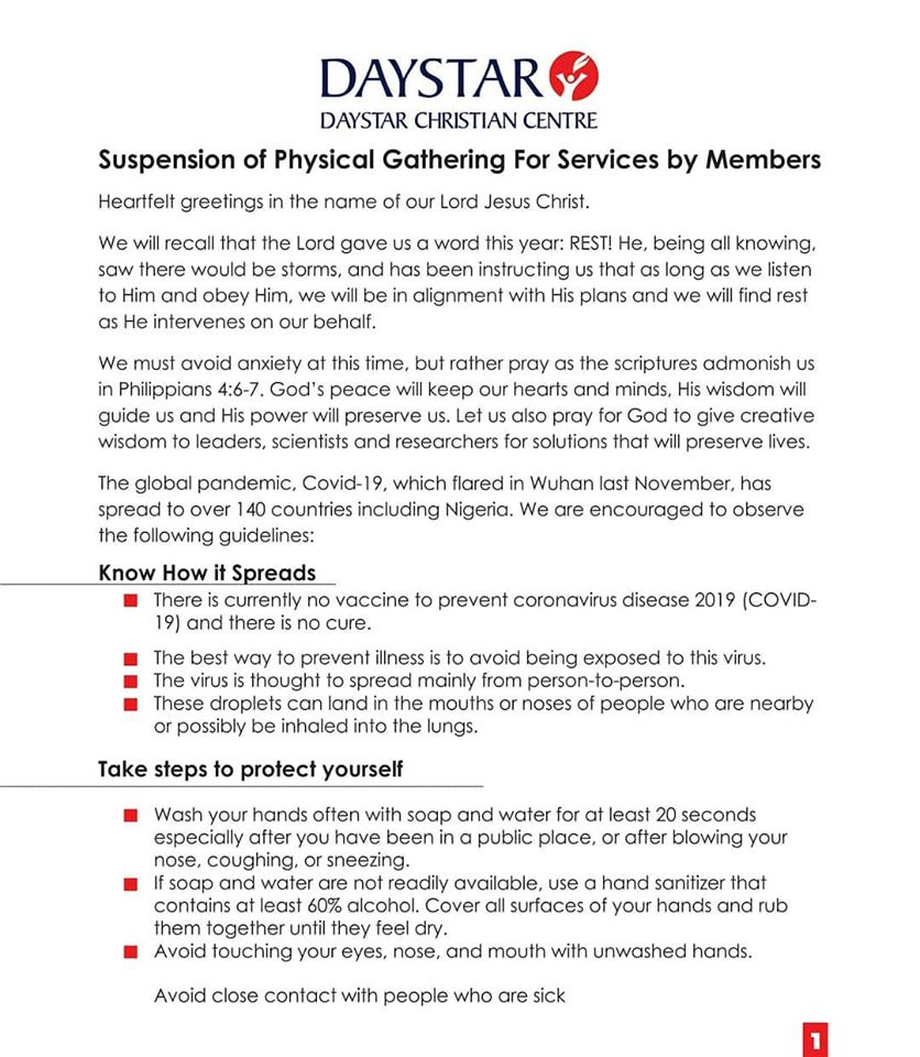 Daystar Suspends Physical Church Services