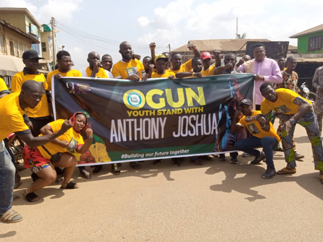 Ogun Govt, Youths Rally Support for Joshua Ahead Tomorrow Fight (See Photo)